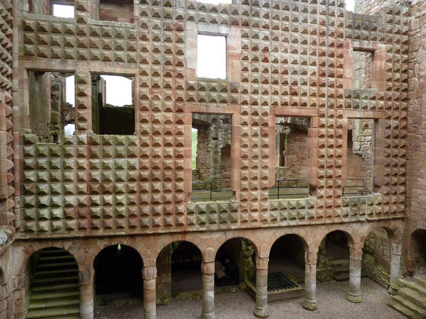 Diamond-faceted palace wall at Crichton Castle